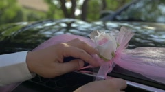 Wedding car decoration with black and white top hats Stock Footage