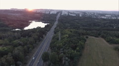 Aerial View - Russian village, road, meadows and fields. Shooting from the Stock Footage