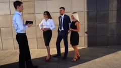 Businessman Shows Team Laptop Explain Problem Standing Near Center Office Stock Footage