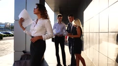 Business Woman Tired Waving Paper Hot Issues, Team Standing Near Center Office Stock Footage