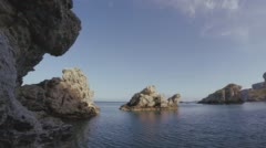 Time Lapse At The Mediterranean Seashore On A Summer Afternoon. Rocky Sea Landsc Stock Footage