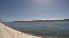 Lisbon, Portugal September 10, 2016. April 25 bridge and Tagus river Stock Footage