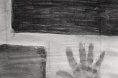 Charcoal hand artwork Stock Photos
