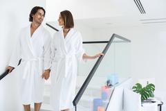 Beautiful couple arriving at spa Stock Photos