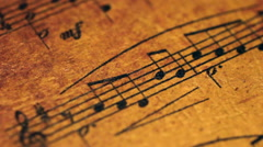 Close up of music sheet Stock Footage