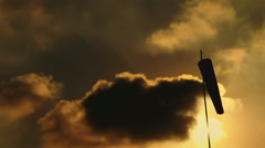 Beautiful and Dramatic Sunset Sky with a Sleeve in an Airfield Stock Footage