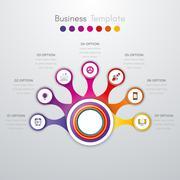 Infographics timeline seven options Stock Illustration