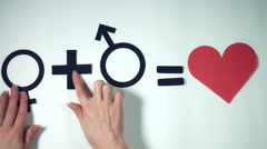 4k Composition of Male and Female Signs Equals love Stock Footage
