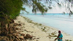 A woman walks along the beach then sits down, talking or singing, as the waves Stock Footage