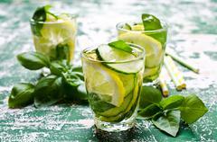 Transparent refreshing drink Stock Photos