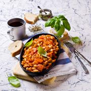Baked beans in sauce Stock Photos