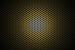 Spotlight on yellow metallic mesh background. Stock Illustration