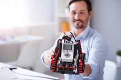 Close up of new robot invention Stock Photos