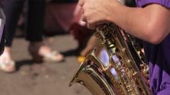 Girl playing saxophone Stock Footage