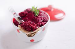Sandwich with grated beets Stock Photos