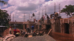 Construction workers building a house. Stock Footage