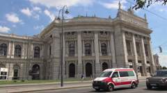 Ringstrasse is one of the main streets with Burgtheater,Vienna Stock Footage
