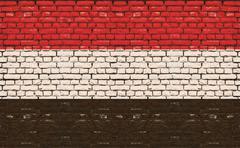 Flag of Yemen painted on wooden frame Stock Illustration