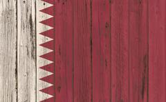 Flag of Qatar painted on wooden frame Piirros