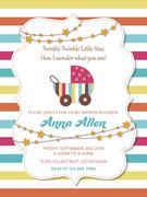 Lovely baby shower card with stroller Stock Illustration