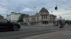 Ringstrasse is one of the main streets with Volkstheater. Vienna Stock Footage