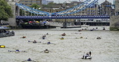 Rowing boats on the river Thames Stock Footage