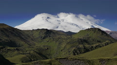 Time Lapse of Mount Elbrus. Highest mountain in Russia and in Europe. Stock Footage