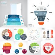 Vector circle infographic set. Business diagrams, arrows graphs, startup logo Stock Illustration