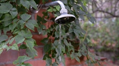 Old shower outside Stock Footage