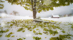 Wonderful nature scene with first snow fall in the autumn park Stock Footage