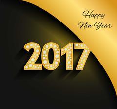 Happy New Year 2017. Gold numbers. Diamonds, jewels, rhinestones Luxury desig Stock Illustration