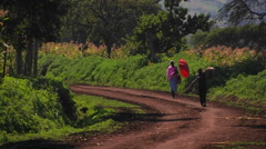 A woman and boy walk down a country road, the boy carrying a package and the Stock Footage