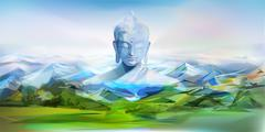 Buddha And Mountains, Vector Landscape Stock Illustration