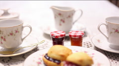 English tea and sandwiches slide right Stock Footage