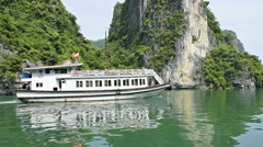 View of travel at tourist boat on Ha Long Bay, a world natural heritage Stock Footage
