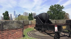 Artillery cannon in Fort Jay on Governors Island, Manhattan, New York. Stock Footage
