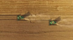 Combines on yellow field. Stock Footage