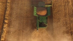 Top view of moving harvester. Stock Footage