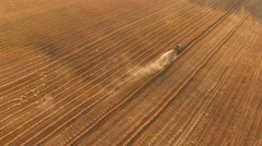 Aerial view of combine. Stock Footage