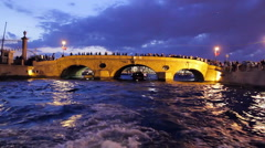 Follows The River at Night in Saint-Petersburg Stock Footage