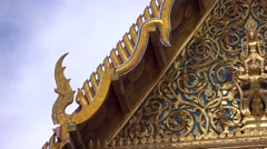 Camera pan footage the roof of temple in Thailand Stock Footage
