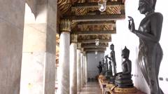 Camera moving footage row of Buddha Stock Footage