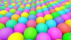 A Huge Vibrant Array of Colorful Golf Balls Stock Illustration