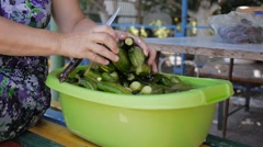Hands of rural women stirred, washed tasty green cucumbers in basin with water. Stock Footage