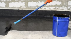 Priming concrete screed Stock Footage