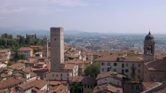 Bergamo aerial view with mountains in the distance Stock Footage
