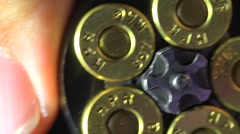 Close Up Of Loading A 357 Magnum Revolver Stock Footage