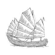 Junk floating on the sea waves. Hand drawn design element sailing ship. Vinta Stock Illustration