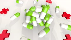 Medical pills falling down. Medicine concept. Treatment Many coloured capsules Stock Footage