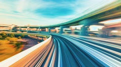 POV monorail time-lapse ride through Kobe, Japan Stock Footage